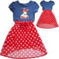 Girls Minnie mouse blue top spotty short in front dress