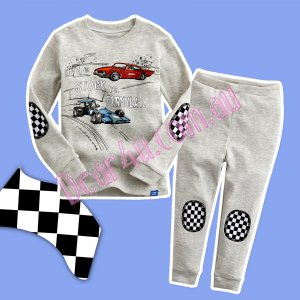 Babies boys long sleeve cotton 2pcs pyjama pjs - Car grey