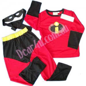 The INCREDIBLES boy Costume party dress up with Mask 3pcs