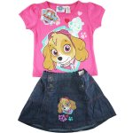 Girls Paw Patrol rescue marshall tee with denim skirt -pink
