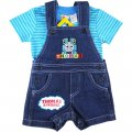 Boys Thomas and Friends summer stripe top and denim overalls
