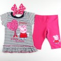 Girls Peppa pig navy stripe top with bow and pink leggings
