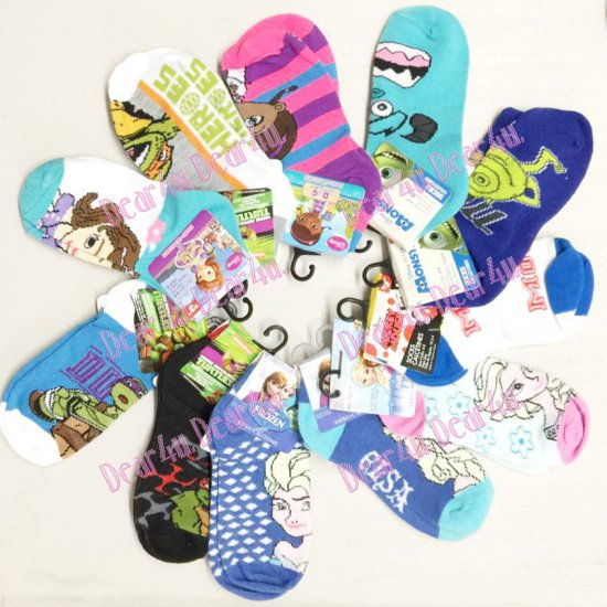 Kids Characters sock short cut - one pair per card - Click Image to Close