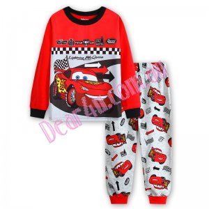 Babies boys long sleeve cotton 2pcs pyjama pjs - Car red