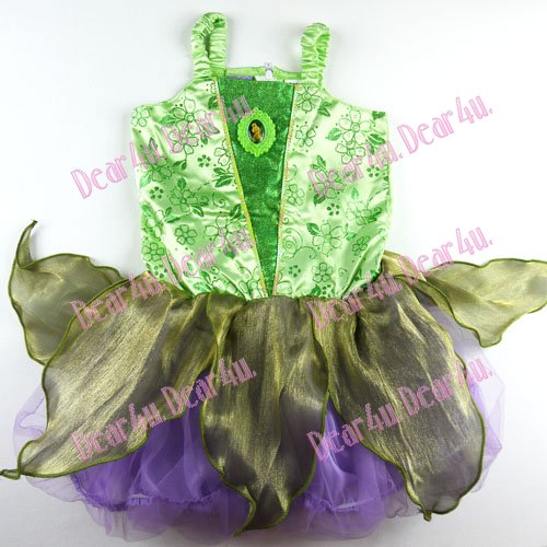 Tinkerbell Fairy dress Costume party dress up green - Click Image to Close