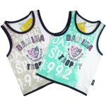 Boys cotton singlet green and grey