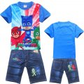 Boys PJMASKS tee with denim pants - Blue