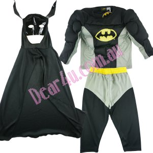 Batman muscle Costume party dress up with Mask 3pcs black