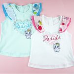 baby Girls dadida singlet tops - white and aqua