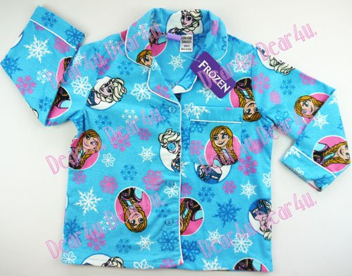 Girls Flannelette Pyjama sleepwear pjs - Frozen Elsa and Anna bl - Click Image to Close