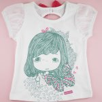 Girls print tee with back 3d bow