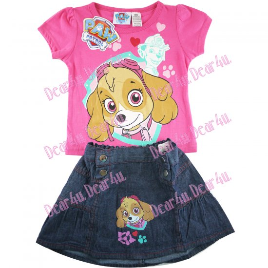 Girls Paw Patrol rescue marshall tee with denim skirt -pink - Click Image to Close