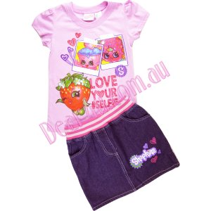 Girls Shopkins light pink tee with denim skirt