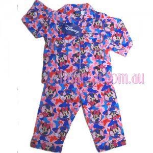 Girls Flannelette Pyjama sleepwear pjs - Minnie Mouse - pink/blu